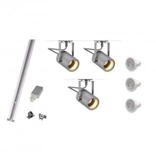 MLS 800061 Eurospot GU10 x 3 Track Kit Silver (1m Track Kit) Dimmable