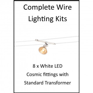 MLS 139208 8m Hi Wire White Kit with 8 x LED Fittings with Standard Transformer