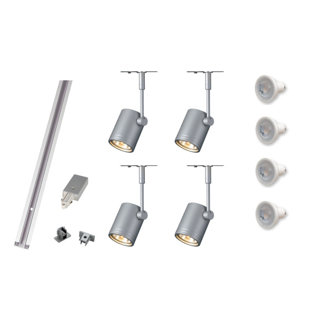 silver grey track lighting kit 4 x bima i gu10 dimmable track system
