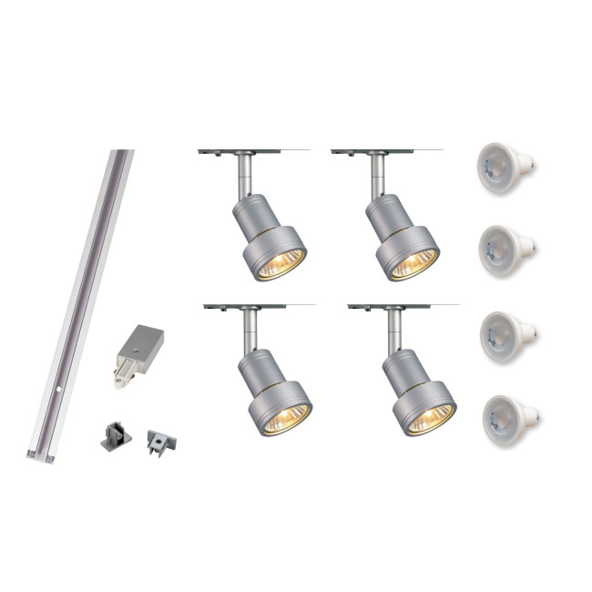 track lighting kit 4 x puri spot lights gu10 led lamps included