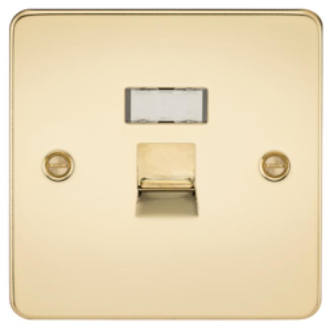 MLS BP54JRPF Flat Plate Rj45 Network Outlet Polished Brass
