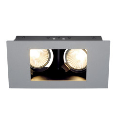 SLV 112434 Indi 2 Silver Grey/Black Adjustable, Requires 2 x GU10 LED, cut out 175mm x 70mm