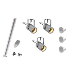 Kit Includes: 1 x 2M Silver Track, 1 x Feed in, 1 x End cap, 3 x Silver Eurospot fittings, 3 x LED dimmable lamps