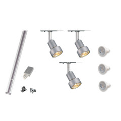 MLS 800047 Puri x 3 Track Kit Silver (1m Track Kit) Dimmable