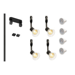 MLS 800128 Easytec Black Track Lighting Kit 4 x Anila Black