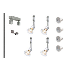 MLS 800127 Easytec Silver Track Lighting Kit 4 x Anila Silver