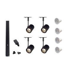 MLS 800042 Mains Voltage Black Track Lighting Kit 4 x Bima Spot Lights GU10 dimmable 230v