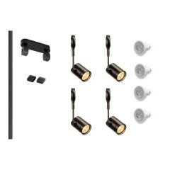 MLS 800007 Easytec Black Track Lighting Kit 4 x Bima Black