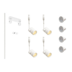 MLS 800135 Easytec White Track Lighting Kit 4 x Bima White