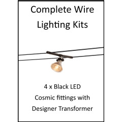 MLS 139203 4m Hi Wire Black Kit with 4 x LED Fittings with Designer Transformer
