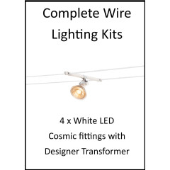 MLS 139209 4m Hi Wire White Kit with 4 x LED Fittings with Designer Transformer