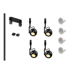 MLS 800130 Easytec Black Track Lighting Kit 4 x Eye Black