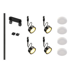 MLS 800006 Easytec Black Track Lighting Kit 4 x GX53 Black