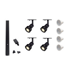 MLS 800041 4 x Puri Black Track Kit (2m Track Kit 2 x 1m tracks and 1 x coupler supplied)