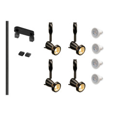 MLS 800004 Easytec Black Track Lighting Kit 4 x Siena Black