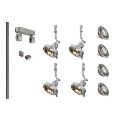 MLS 800001 Easytec Silver Grey Track Lighting Kit 4 x Yoki