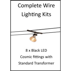 MLS 139202 8m Hi Wire Black Kit with 8 x LED Fittings with Standard Transformer