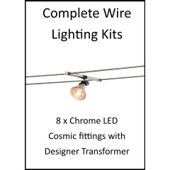 MLS 139199 8m Hi Wire Chrome Kit with 8 x LED Fittings with Designer Transformer