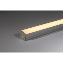 17mm x 14mm Aluminium profile with opal diffuser 1m (supplied with fixing clips and end caps)