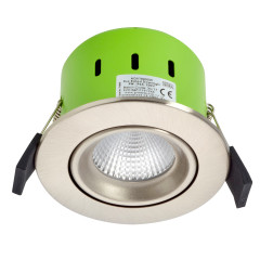 Greenbrook ADVT3000W 9W IP65 Tilt LED Fire Rated Satin Chrome Adj Warm White