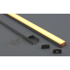 MLS 800023 Aluminium Profile 2m surface mount Single profile shallow finish opaque Aluminium