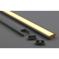 MLS 800025 Aluminium Profile 2m flush fit Single profile shallow finish opaque Aluminium 800025