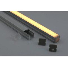 MLS 800027 Aluminium Profile 2m surface mount Single profile deep finish opaque Aluminium