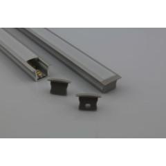 MLS 800029 Aluminium Profile 2m flush fit Single profile deep finish opaque Aluminium