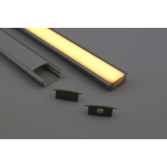 MLS 800032 Aluminium Profile 1m surface mount Double profile shallow finish opaque Aluminium