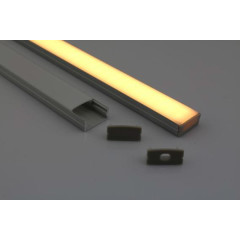 MLS 800035 Aluminium Profile 2m flush fit Double profile shallow finish opaque Aluminium