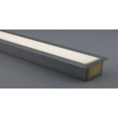 MLS 800038 Aluminium Profile 1m flush fit triple profile deep finish opaque Aluminium