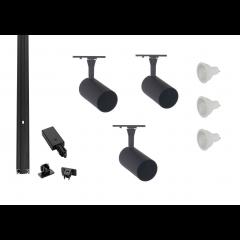 Black-Track-Lighting-Kit-3 Spot-GU10-LED-Dimmable