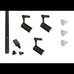MLS 800141 Barrel x 3 Track Kit Black (1m Track Kit) Dimmable