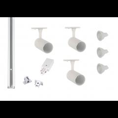 Track-Lighting-Kit-White-3 Spot-GU10-LED-Dimmable