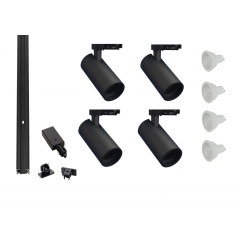 MLS 800171 Shooter x 4 Track Kit Black (2m Track Kit) Dimmable