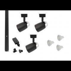MLS800179 Chrome Dome x 3 Track Lighting Kit Black Dimmable (1m Track Kit)
