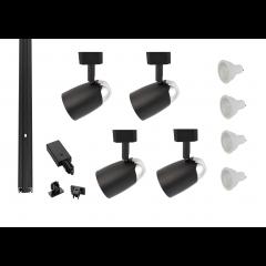 MLS800180 Chrome Dome x 4 Track Lighting Kit Black Dimmable (2m Track Kit)