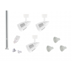 MLS800173 Bullet x 3 Track Lighting Kit White Dimmable (1m Track Kit)