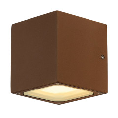 SLV 232537 SITRA CUBE wall lamp cube formed rust-coloured GX53