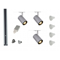 MLS 800153 Enola x 3 Track Lighting Kit Silver Grey (1m Track Kit) Dimmable