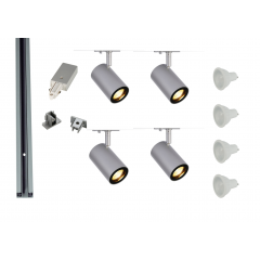 MLS 800156 Enola x 4 Track Lighting Kit Silver Grey (1m Track Kit) Dimmable