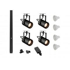 MLS 800150 Eurospot x 4 Track Lighting Kit Black (2m Track Kit) Dimmable