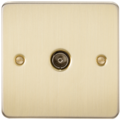 MLS BB0010PF Flat Plate 1G Tv Outlet Non Isolated Brushed Brass