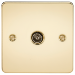 MLS BP0010PF Flat Plate 1G Tv Outlet Non Isolated Polished Brass