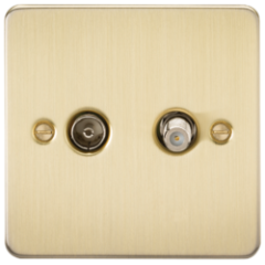 MLS BB0410PF Flat Plate Tv & Sat Tv Outlet Isolated Brushed Brass