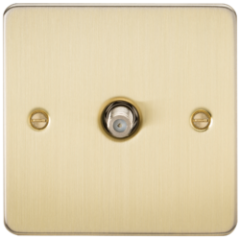 Flat Plate 1G Sat Tv Outlet Non Isolated Brushed Brass