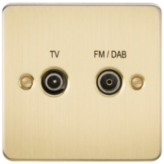 Flat Plate Screened Diplex Outlet Tv and Fm Dab Brushed Brass