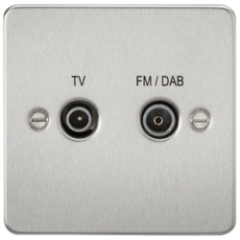 MLS CB0610PF Flat Plate Screened Diplex Outlet Tv & Fm Dab Brushed Chrome
