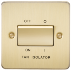 MLS BB0011PF Flat Plate 10A 3 Pole Fan Isolator Switch Brushed Brass