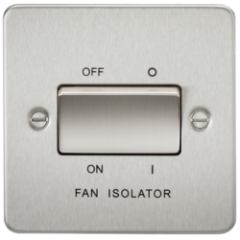 MLS CB0011PF Flat Plate 10A 3 Pole Fan Isolator Switch Brushed Chrome